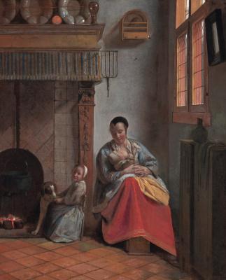 Pieter de Hooch. Woman with children in the interior