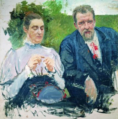 Andrei Petrovich Ryabushkin. Portrait of I. F, Tyumenev and his wife. 1890s