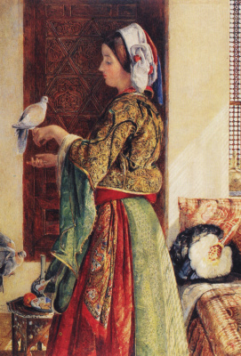 John Frederick Lewis. Girl with two tame pigeons