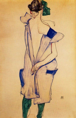 Egon Schiele. Standing girl in blue dress and green stockings