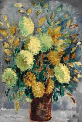 Kees Van Dongen. Vase with chrysanthemums