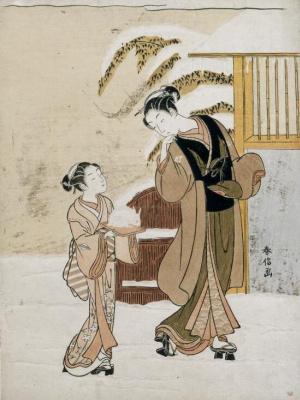 Судзуки Харунобу. Молодая женщина любуется снежным кроликом
