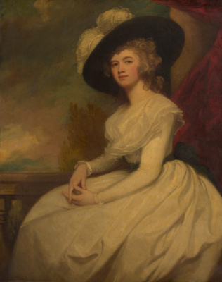 George Romney. Mrs. Brian Cook (Francis Puleston) in a black hat