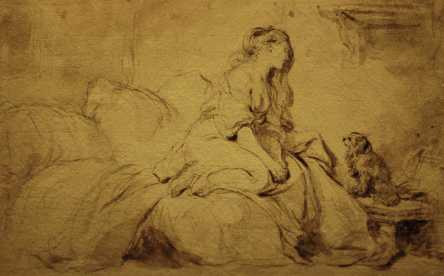 Jean-Honore Fragonard. Sketch of a girl with a dog