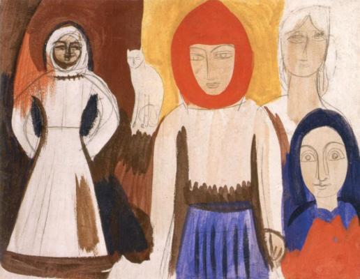 Михаил Львович Бойчук. Четыре женщины и кот.(эскиз)