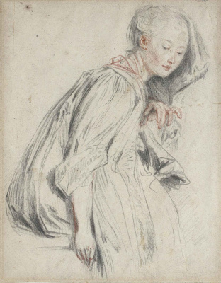 Antoine Watteau. A seated young woman, in a loose robe, her eyes downcast