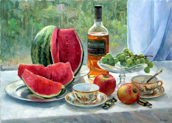 Michael Neufeld. Still life with watermelon, oil on canvas