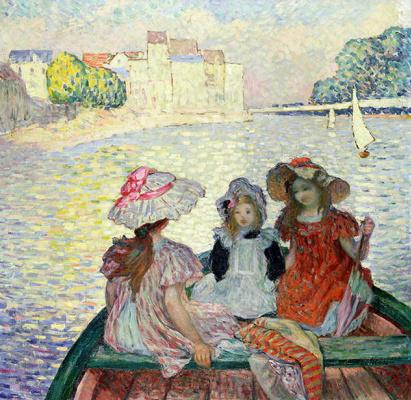 Анри Лебаск. Три девушки в лодке