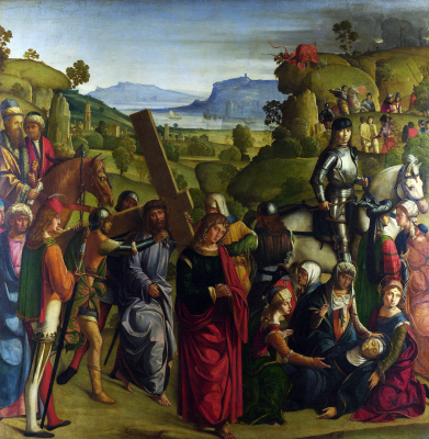 Boccaccino Boccaccio. The carrying of the cross and the fainting of virgin Mary