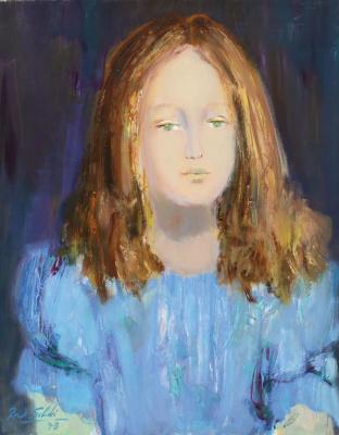 Raúl Soldi. Little girl with light blue blouse