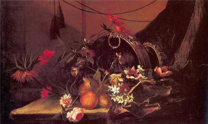 Дж Монноуер. Натюрморт с цветами