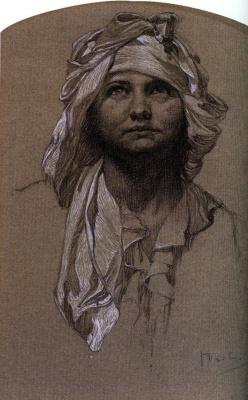 Alfons Mucha. Head girls