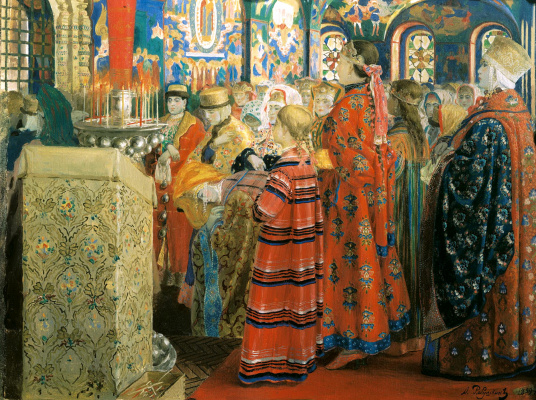 Andrei Petrovich Ryabushkin. Russian women of the XVII century in the Church