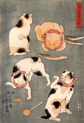 Utagawa Kuniyoshi. Four cats in different poses