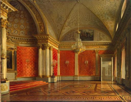 Sergey Konstantinovich Zaryanka. View of the Petrovsky (Small Throne) Hall in the Winter Palace