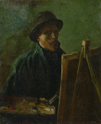 Vincent van Gogh. Self portrait in a dark felt hat at the easel