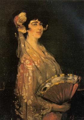 Ignacio Suloaga. An elegant lady fanning herself