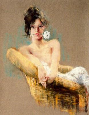 Каэтано де Аркер Буигас. Девушка с белым цветком в зубах