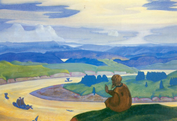 Nicholas Roerich. Procopius the Righteous praying for the unknown floating