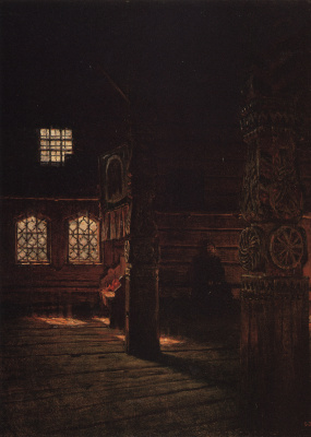 Vasily Vereshchagin. Interior view of the wooden Church of Peter and Paul in Mucuge. Etude