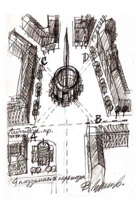 Владимир Сергеевич Лукьянов. Эскиз обелиска на площади Восстания