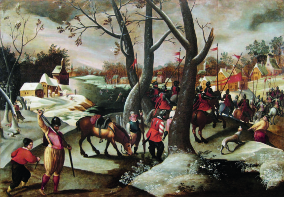 Martin van Cleve. Winter landscape with the massacre of the innocents