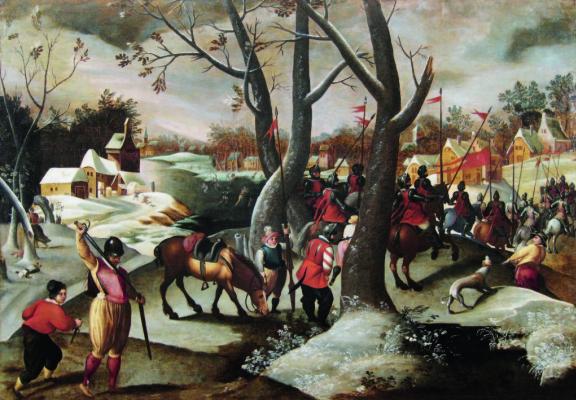 Мартин ван Клеве. Зимний пейзаж с избиением младенцев