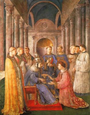 Fra Beato Angelico. Saint Sixtus makes Saint Lawrence a deacon. Fresco of the Niccolin Chapel