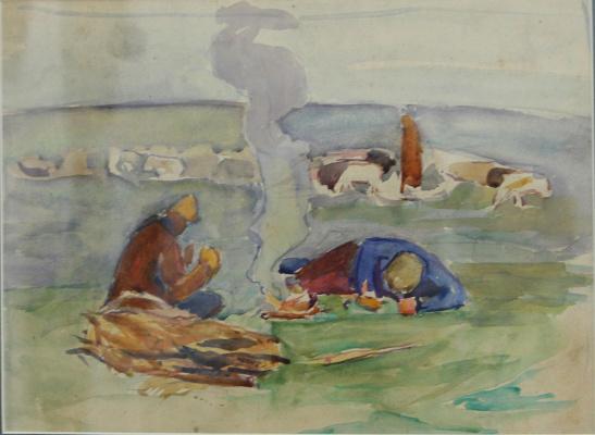 Nikolai Andreevich Shelyuto. The shepherds around the campfire
