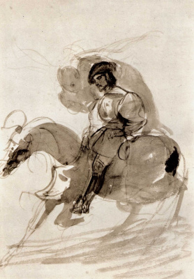 Eugene Delacroix. Constable de Bourbon, pursued by Conscience