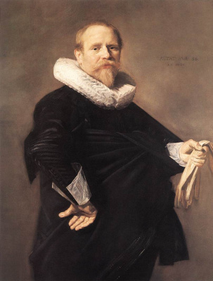 France Hals. Portrait of a man with white gloves