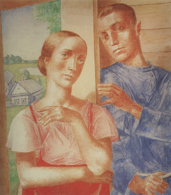"""Kuzma Sergeevich Petrov-Vodkin. Spring in the village. Sketch cover of the magazine """"Krasnaya panorama"""""""