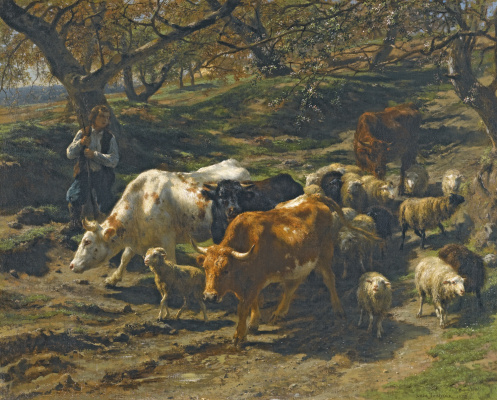 Rose Bonhur. Shepherd and flock on a mountain road