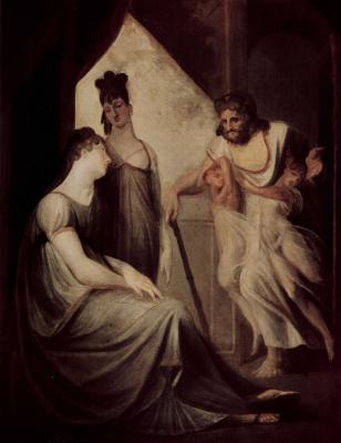 Johann Heinrich Fuessli. Thetis asks Hephaestus to forge armor for her son Achilles