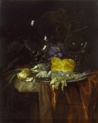 Willem van Aelst. The table for Breakfast. Still life with nuts, green onions and bread