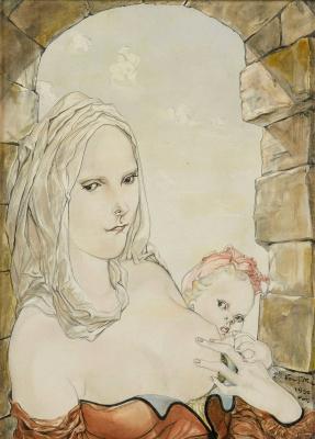Zuguharu Fujita (Léonard Fujita). Mother and child