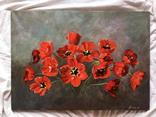 Anastasia Borisovna Popova. Red tulips