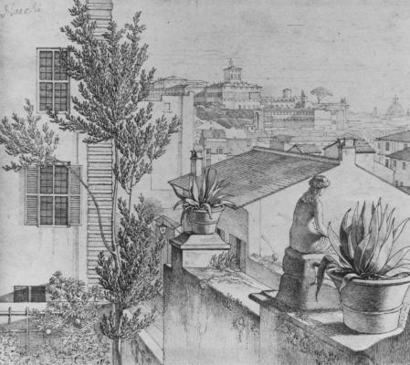 Густав Генрих Неке. Вид на Рим с крыши