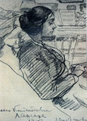 Зинаида Евгеньевна Серебрякова. О. К. Лансере (в девичестве Алцибушева), жена брата Е. Е. Лансере. Эскиз