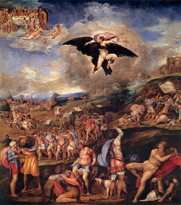 Battista Franco Veneziano. The battle of montemurlo and the abduction of Ganymede