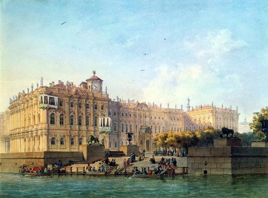 Людовик Франц Карл Бонштедт. Набережная Невы у западного фасада Зимнего дворца