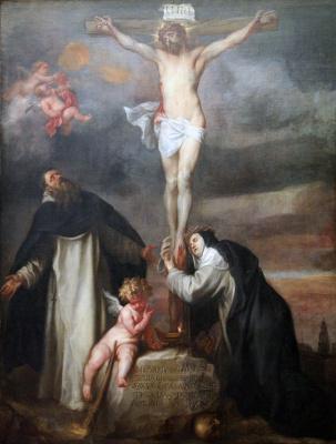 Антонис ван Дейк. Распятие со святой Екатериной Сиенской, святым Домиником и ангелом