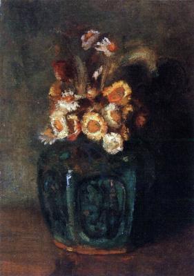 Керамический горшок с хризантемами