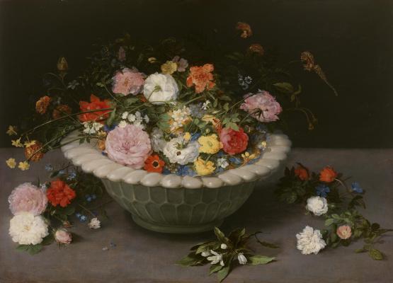 Jan Bruegel The Elder. Still life with flowers in a flat vase