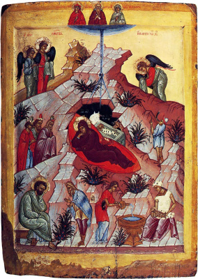 Иконопись. Рождество Христово с избранными святыми (Евдокия, Иоанн Лествичник и Ульяна)