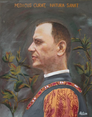 Shop Artists. Portrait of a medic.