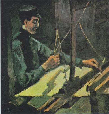 Винсент Ван Гог. Ткач, обращенный к художнику правой стороной (поясной портрет)