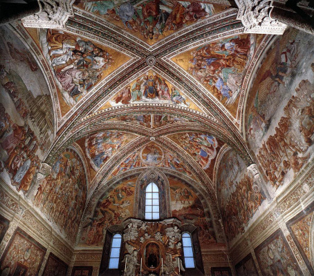 Fra Beato Angelico. Panoramic view of the frescoes of the chapel of the Madonna di San Brisio in Orvieto, Italy