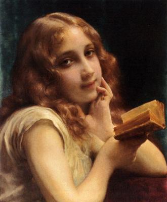 Этьен Адольф Пиот. Маленькая девочка читает книгу