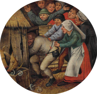 Peter Brueghel the Younger. Punishment. Imprisonment of drunkards in the barn